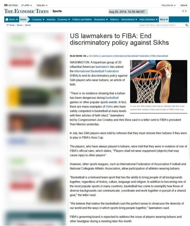 US lawmakers to FIBA: End discriminatory policy against Sikhs