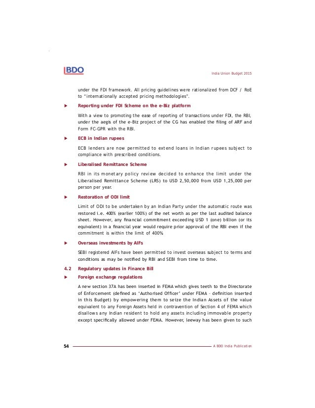 India Union Budget 2015 - An Overview   A BDO India ...