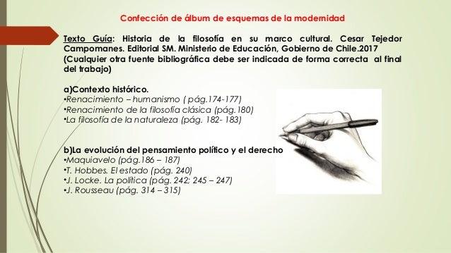 Confección de álbum de esquemas de la modernidad Texto Guía: Historia de la filosofía en su marco cultural. Cesar Tejedor ...