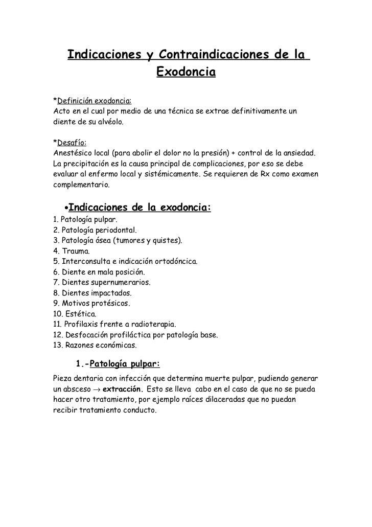 Indicaciones y contraindicaciones exodoncia