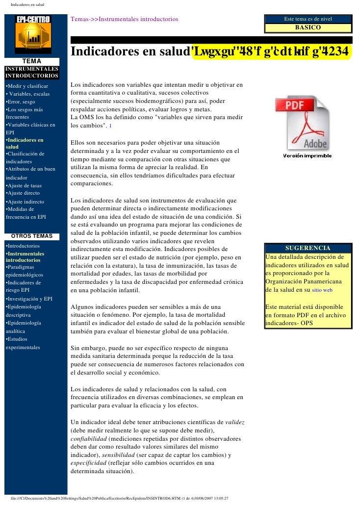Indicadores en salud                                  Temas->>Instrumentales introductorios                               ...