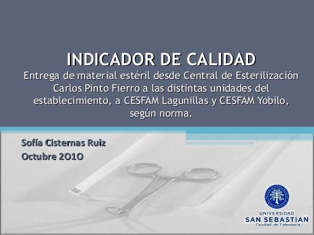 INDICADOR DE CALIDADINDICADOR DE CALIDAD Entrega de material estéril desde Central de EsterilizaciónEntrega de material es...