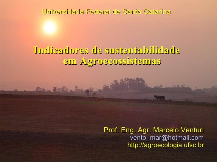 Indicadores de sustentabilidade em Agroecossistemas Universidade Federal de Santa Catarina Prof. Eng. Agr. Marcelo Venturi...