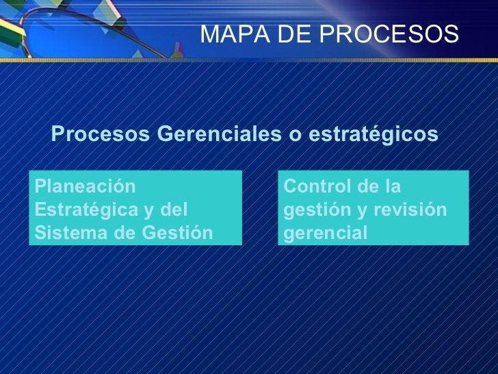 MAPA DE PROCESOS Procesos Gerenciales o estratégicos Planeación Estratégica y del Sistema de Gestión Control de la gestión...