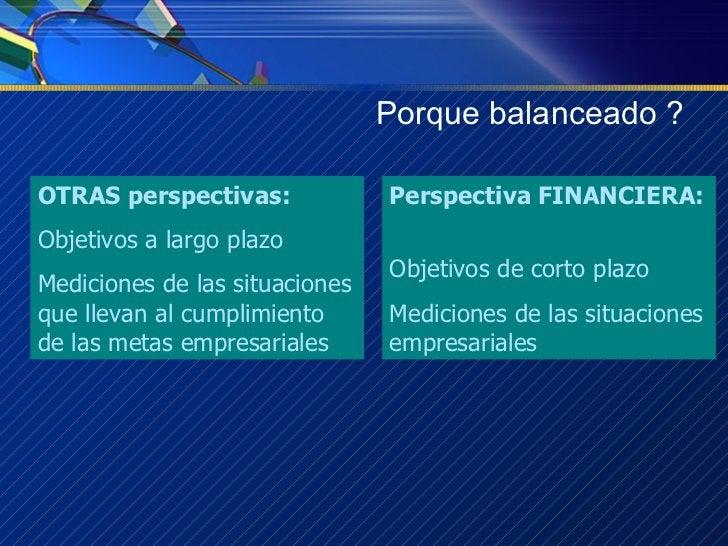 Porque balanceado ? Perspectiva FINANCIERA:   Objetivos de corto plazo Mediciones de las situaciones empresariales OTRAS p...