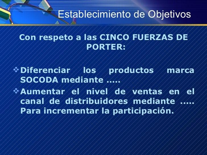 Establecimiento de Objetivos <ul><li>Con respeto a las CINCO FUERZAS DE PORTER:  </li></ul><ul><li>Diferenciar los product...