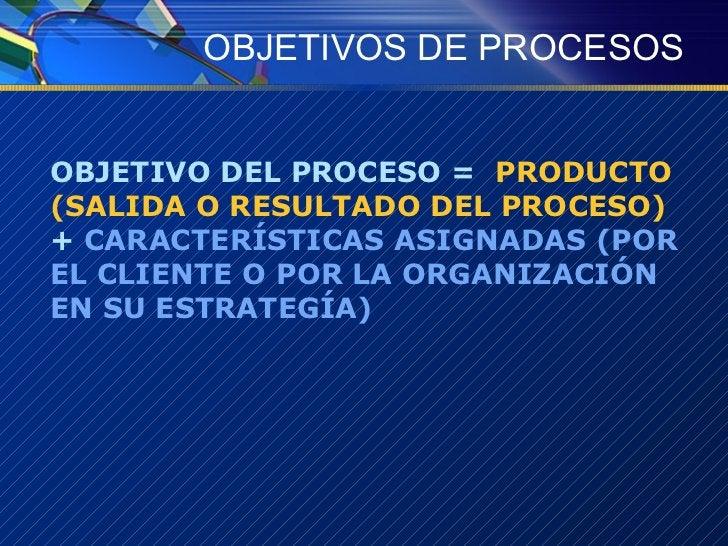 OBJETIVOS DE PROCESOS <ul><li>OBJETIVO DEL PROCESO =  PRODUCTO (SALIDA O RESULTADO DEL PROCESO)  +  CARACTERÍSTICAS ASIGNA...