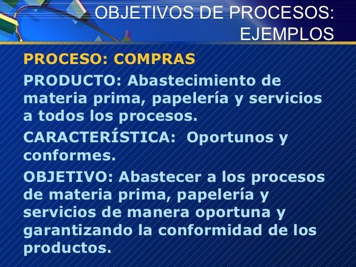 OBJETIVOS DE PROCESOS: EJEMPLOS <ul><li>PROCESO: COMPRAS </li></ul><ul><li>PRODUCTO: Abastecimiento de materia prima, pape...