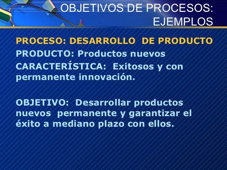 OBJETIVOS DE PROCESOS: EJEMPLOS <ul><li>PROCESO: DESARROLLO  DE PRODUCTO </li></ul><ul><li>PRODUCTO: Productos nuevos </li...