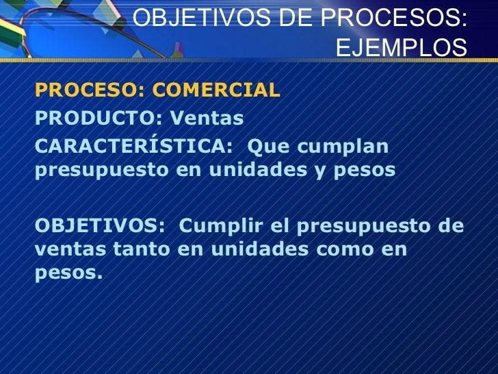 OBJETIVOS DE PROCESOS: EJEMPLOS <ul><li>PROCESO: COMERCIAL </li></ul><ul><li>PRODUCTO: Ventas </li></ul><ul><li>CARACTERÍS...