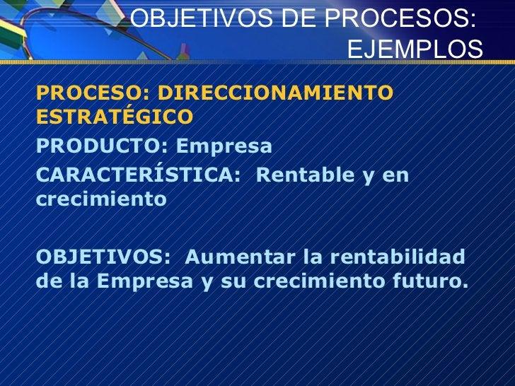 OBJETIVOS DE PROCESOS:  EJEMPLOS <ul><li>PROCESO: DIRECCIONAMIENTO ESTRATÉGICO </li></ul><ul><li>PRODUCTO: Empresa </li></...