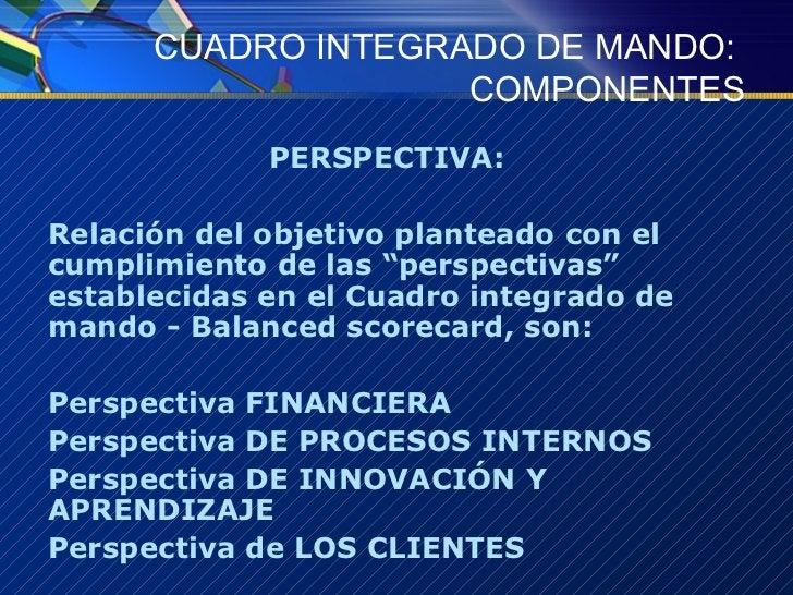 CUADRO INTEGRADO DE MANDO:  COMPONENTES <ul><li>PERSPECTIVA:  </li></ul><ul><li>Relación del objetivo planteado con el cum...
