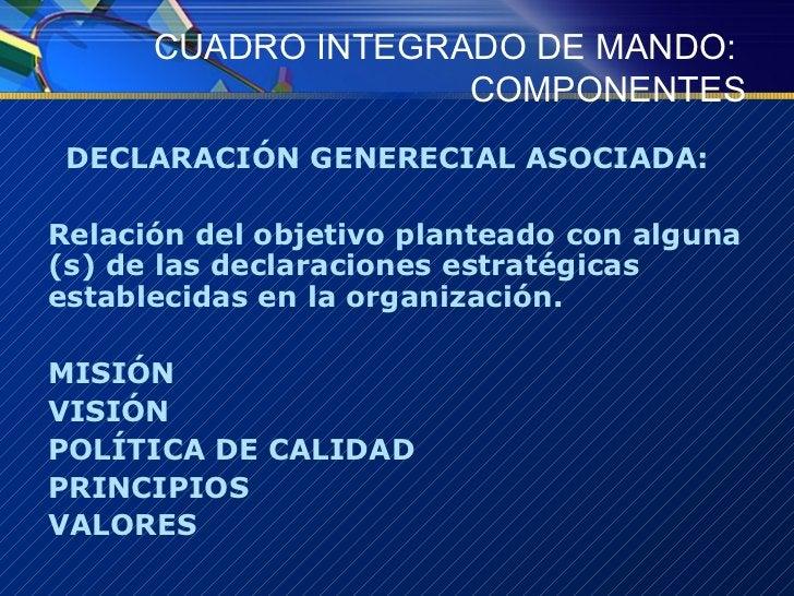 CUADRO INTEGRADO DE MANDO:  COMPONENTES <ul><li>DECLARACIÓN GENERECIAL ASOCIADA:  </li></ul><ul><li>Relación del objetivo ...
