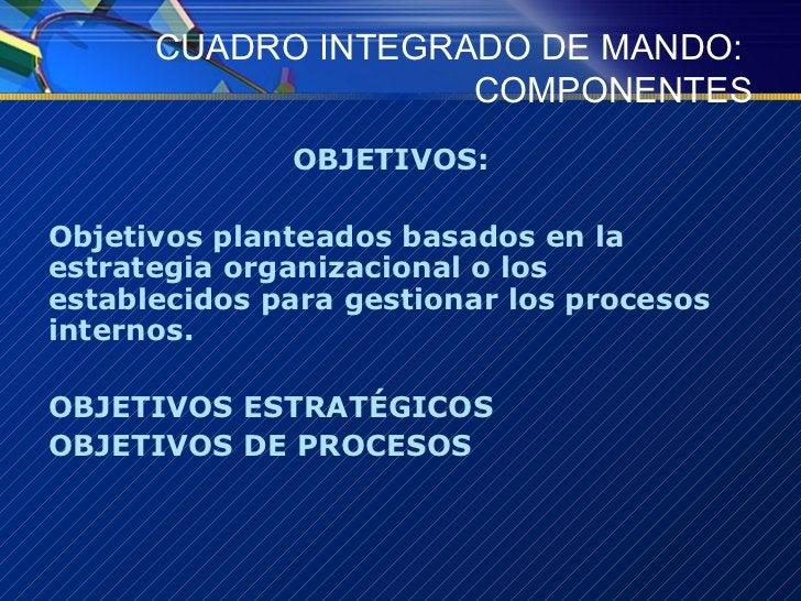 CUADRO INTEGRADO DE MANDO:  COMPONENTES <ul><li>OBJETIVOS:  </li></ul><ul><li>Objetivos planteados basados en la estrategi...
