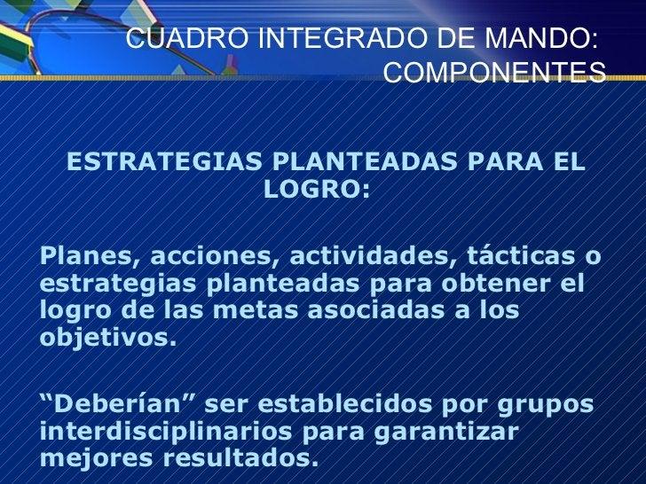 CUADRO INTEGRADO DE MANDO:  COMPONENTES <ul><li>ESTRATEGIAS PLANTEADAS PARA EL LOGRO:  </li></ul><ul><li>Planes, acciones,...