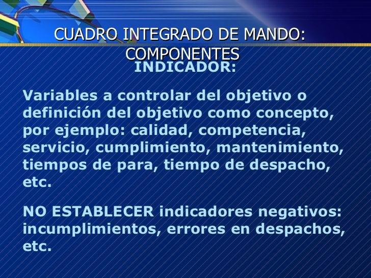 <ul><li>INDICADOR: </li></ul><ul><li>Variables a controlar del objetivo o  definición del objetivo como concepto, por ejem...