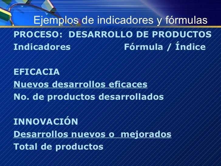 Ejemplos de indicadores y fórmulas <ul><li>PROCESO:  DESARROLLO DE PRODUCTOS </li></ul><ul><li>Indicadores Fórmula / Índic...