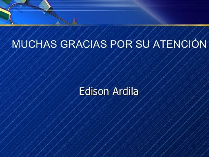 MUCHAS GRACIAS POR SU ATENCIÓN Edison Ardila