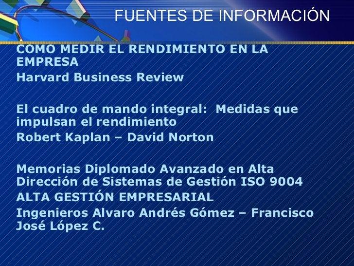 FUENTES DE INFORMACIÓN <ul><li>COMO MEDIR EL RENDIMIENTO EN LA EMPRESA </li></ul><ul><li>Harvard Business Review </li></ul...