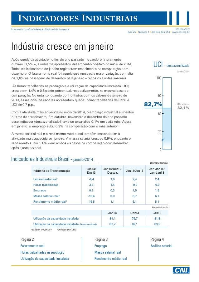 INDICADORES INDUSTRIAIS Indústria cresce em janeiro Após queda da atividade no fim do ano passado – quando o faturamento d...