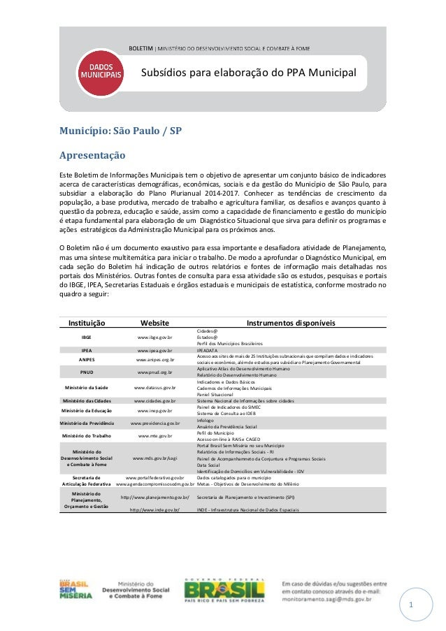 Subsídios para elaboração do PPA Municipal  Município: São Paulo / SP Apresentação Este Boletim de Informações Municipais ...