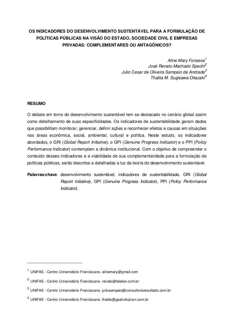 OS INDICADORES DO DESENVOLVIMENTO SUSTENTÁVEL PARA A FORMULAÇÃO DE       POLÍTICAS PÚBLICAS NA VISÃO DO ESTADO, SOCIEDADE ...