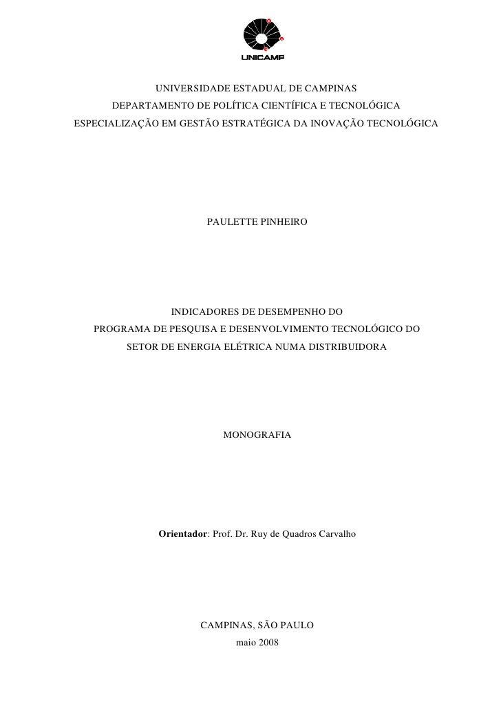 UNIVERSIDADE ESTADUAL DE CAMPINAS       DEPARTAMENTO DE POLÍTICA CIENTÍFICA E TECNOLÓGICA ESPECIALIZAÇÃO EM GESTÃO ESTRATÉ...