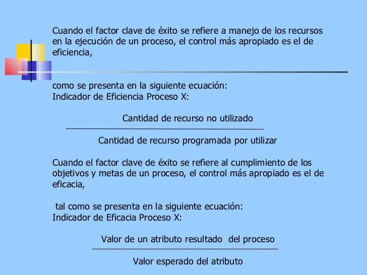 Cuando el factor clave de éxito se refiere a manejo de los recursos en la ejecución de un proceso, el control más apropiad...