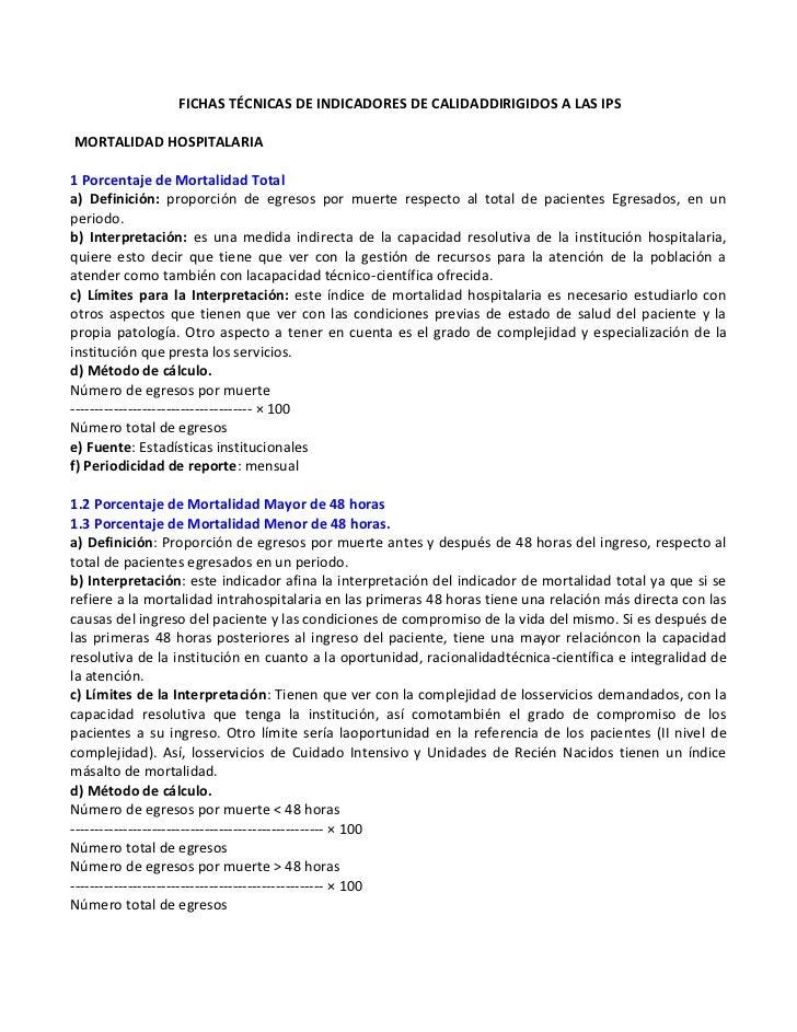 FICHAS TÉCNICAS DE INDICADORES DE CALIDADDIRIGIDOS A LAS IPSMORTALIDAD HOSPITALARIA1 Porcentaje de Mortalidad Totala) Defi...