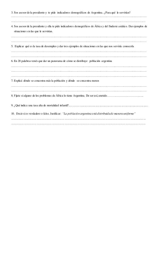 3. Sos asesor de la presidente y te pide indicadores demográficos de Argentina. ¿Para qué le servirían? ………………………………………………...