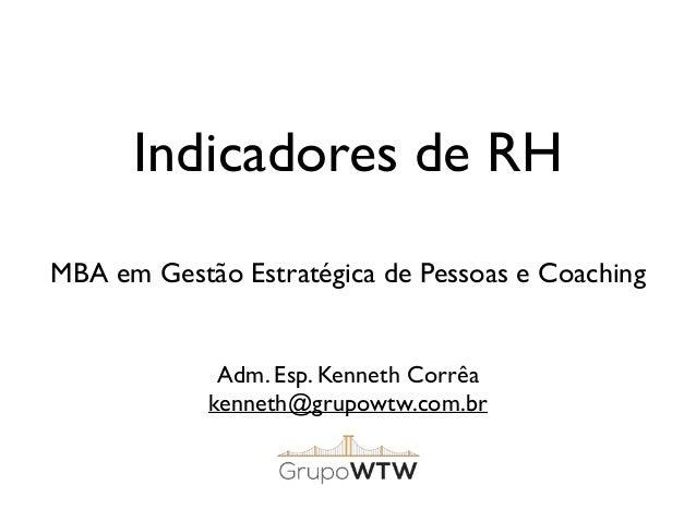 Indicadores de RH Adm. Esp. Kenneth Corrêa kenneth@grupowtw.com.br MBA em Gestão Estratégica de Pessoas e Coaching