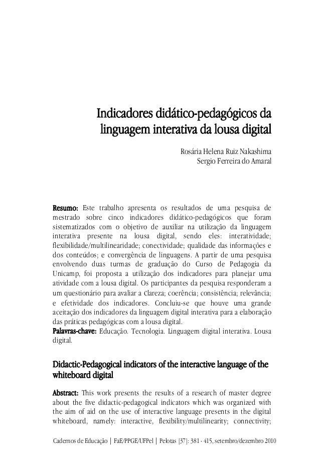 Indicadores didático-pedagógicos da                  linguagem interativa da lousa digital              ...