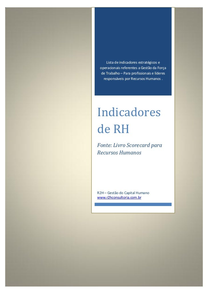 Lista de indicadores estratégicos e operacionais referentes a Gestão da Força de Trabalho – Para profissionais e líderes  ...