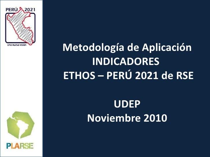 Metodología de Aplicación INDICADORES   ETHOS – PERÚ 2021 de RSE UDEP Noviembre 2010