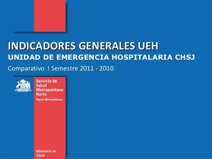 INDICADORES GENERALES UEH  UNIDAD DE EMERGENCIA HOSPITALARIA CHSJ Comparativo  I Semestre 2011 - 2010