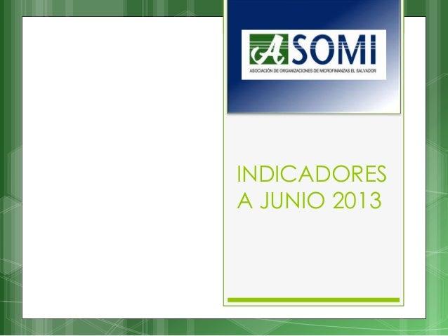 INDICADORES A JUNIO 2013