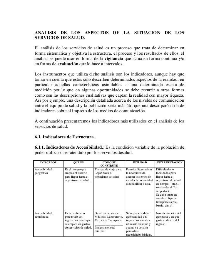 ANALISIS DE LOS ASPECTOS DE LA SITUACION DE LOSSERVICIOS DE SALUD.El análisis de los servicios de salud es un proceso que ...