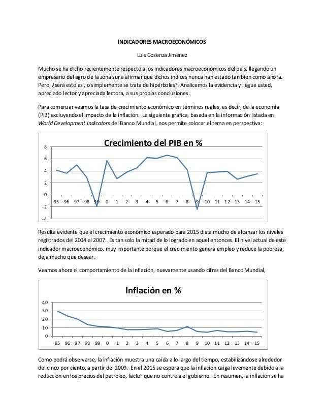 INDICADORES MACROECONÓMICOS Luis Cosenza Jiménez Mucho se ha dicho recientemente respecto a los indicadores macroeconómico...
