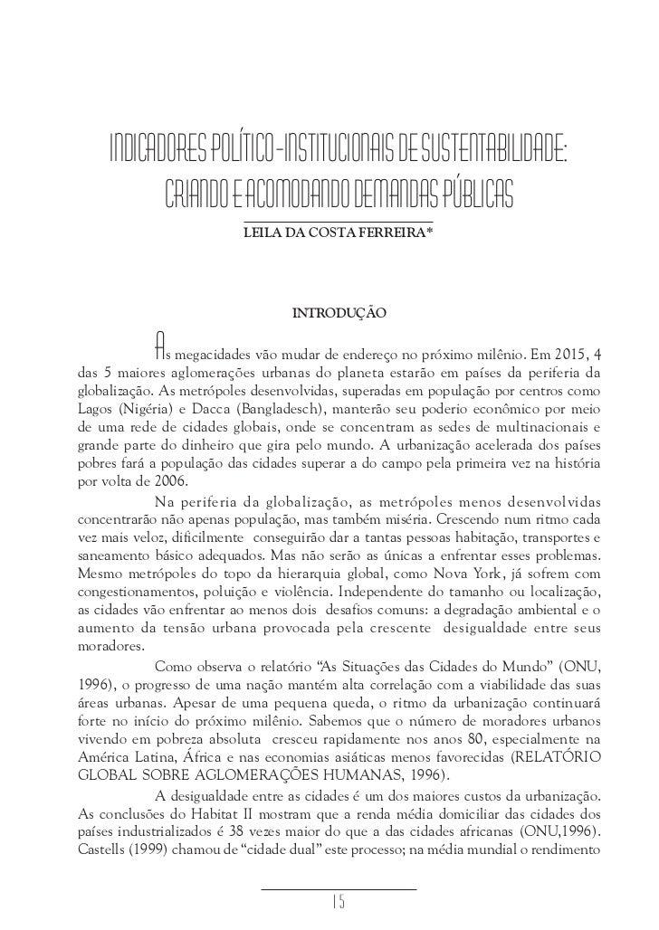 Indicadores político-institucionais de sustentabilidade - LEILA DA COSTA FERREIRA     INDICADORES POLÍTICO-INSTITUCIONAIS ...