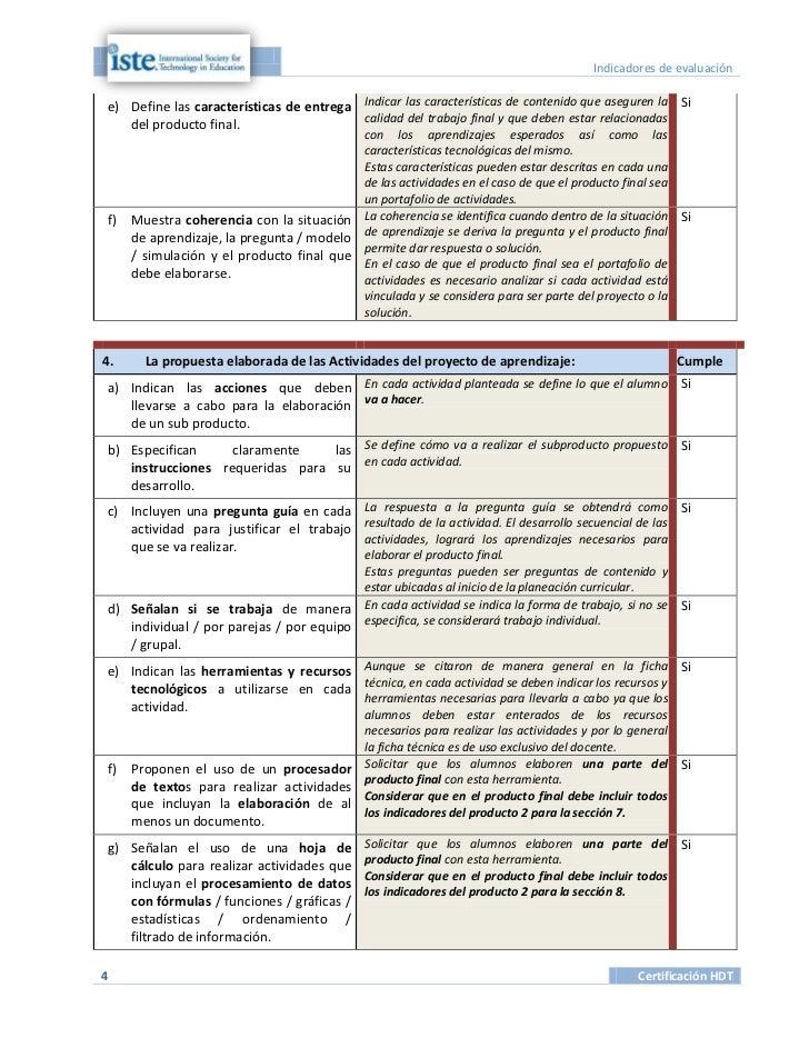 Indicadores de evaluacióne) Define las características de entrega Indicar las características de contenido que aseguren la...