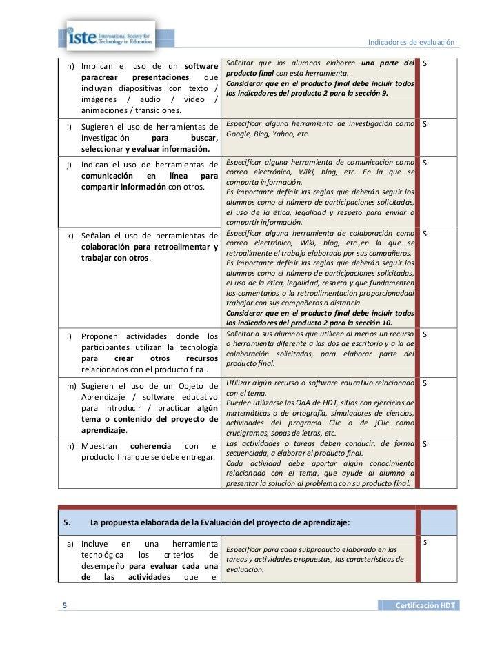Indicadores de evaluaciónh) Implican el uso de un software           Solicitar que los alumnos elaboren una parte del Si  ...