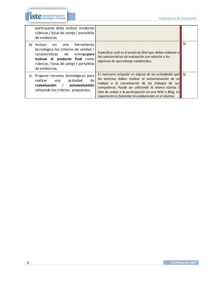 Indicadores de evaluación    participante debe realizar mediante    rúbricas / listas de cotejo / portafolio    de evidenc...