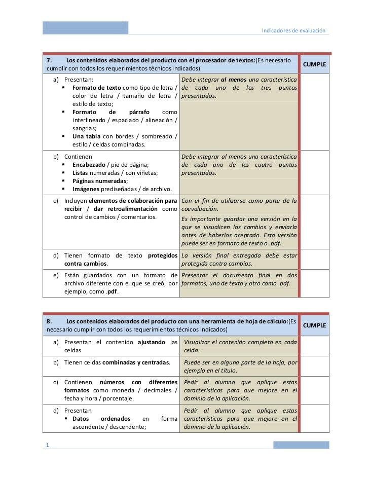 Indicadores de evaluación7.     Los contenidos elaborados del producto con el procesador de textos:(Es necesario          ...