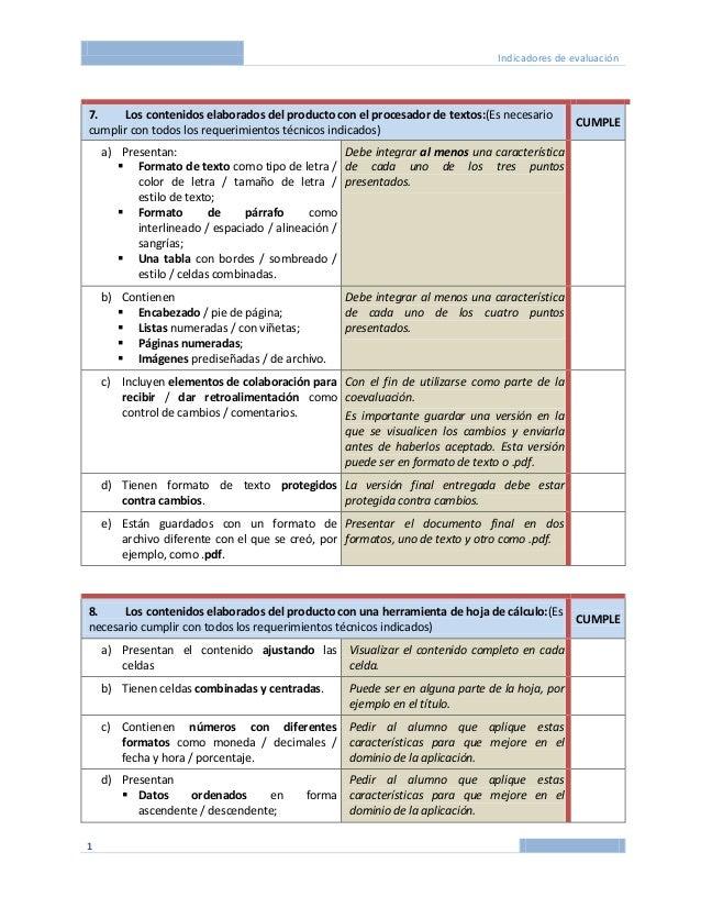 Indicadores de evaluación17. Los contenidos elaborados del producto con el procesador de textos:(Es necesariocumplir con t...