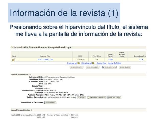 El Indice h El índice h es un sistema propuesto por Jorge Hirsch, PhD, de la Universidad de California, para la medición d...