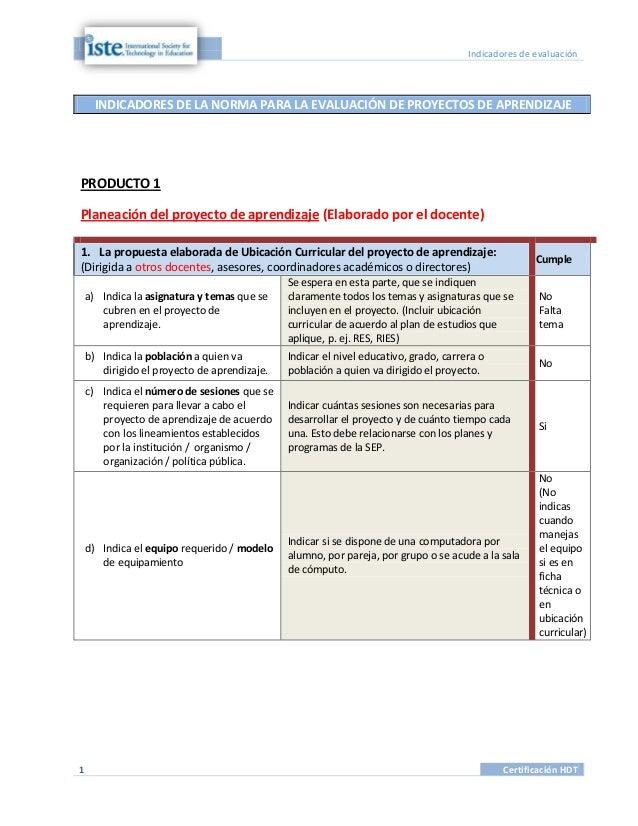 Indicadores de evaluación    INDICADORES DE LA NORMA PARA LA EVALUACIÓN DE PROYECTOS DE APRENDIZAJEPRODUCTO 1Planeación de...