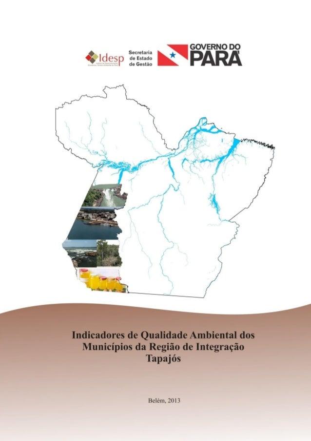 10INDICADORES DE QUALIDADE AMBIENTALDA REGIÃO DE INTEGRAÇÃO TAPAJÓSBELÉM2013