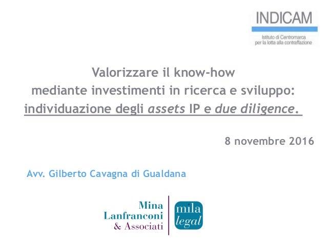 Valorizzare il know-how mediante investimenti in ricerca e sviluppo: individuazione degli assets IP e due diligence. 8 nov...