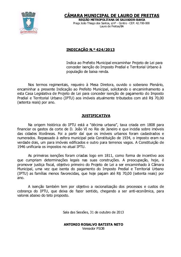 CÂMARA MUNICIPAL DE LAURO DE FREITAS REGIÃO METROPOLITANA DE SALVADOR-BAHIA Praça João Thiago dos Santos, s/nº - Centro - ...