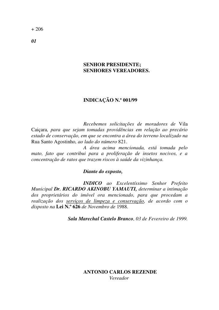 + 206  01                            SENHOR PRESIDENTE;                         SENHORES VEREADORES.                      ...